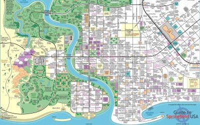 Supergave kaart van Springfield (The Simpsons). Leuk!